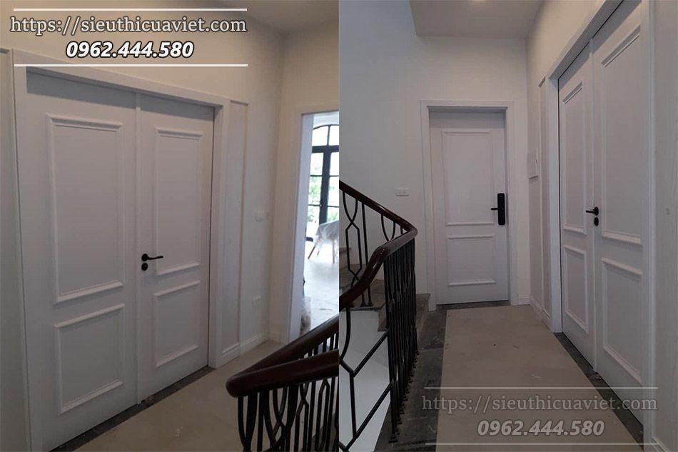 Mẫu cửa gỗ sử dụng phào chỉ nổi trên cánh cửa