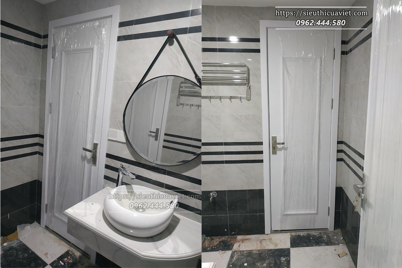 Mẫu cửa gỗ Composite màu trắng phào nổi lắp đặt tại khu biệt thự liền kề ATHENA NGUYỄN XIỂN