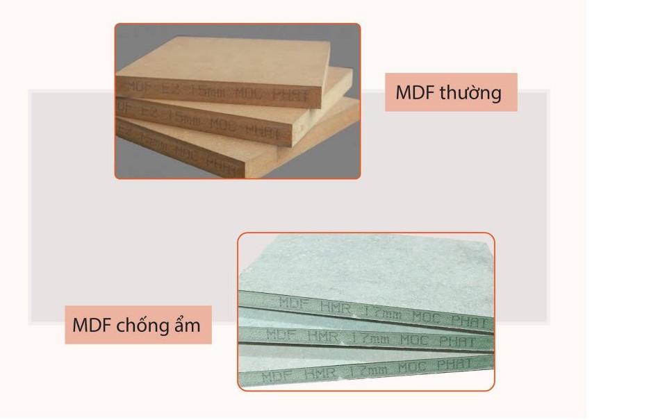 Tấm MDF thường và mdf chịu ẩm hay còn gọi là MDF Lõi Xanh
