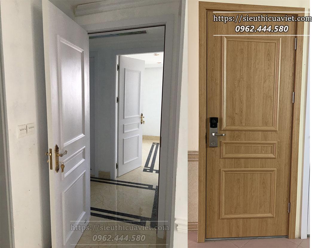 Một trong 2 mẫu cửa được thi công cho 2 căn hộ tầng 9 tòa E3