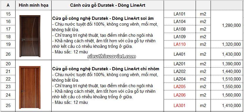 báo giá cửa gỗ cong nghiepj duratek Lineart - chi trang tri nghe thuat