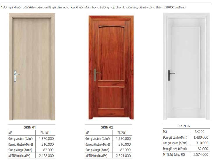 Báo giá cửa gỗ công nghiệp veneer thương hiệu austdoor