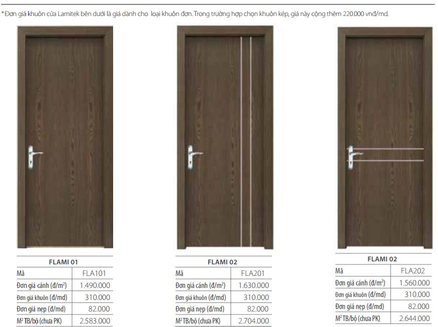 Đơn giá cửa gỗ laminate cơ bản