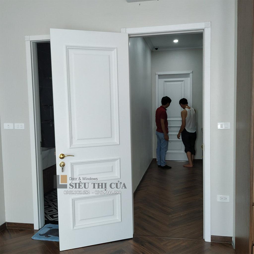 Mẫu cửa gỗ nhựa phào 3 tầng