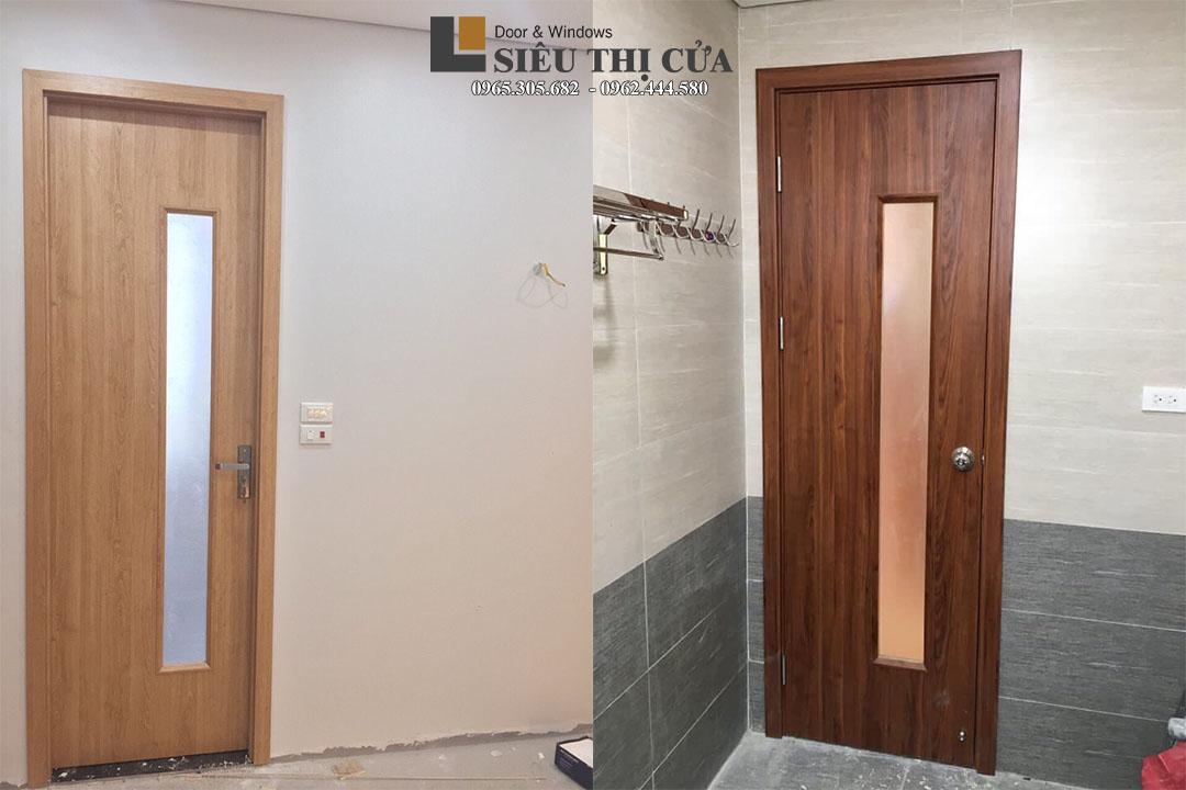 Mẫu cửa gỗ composite ô kính dài