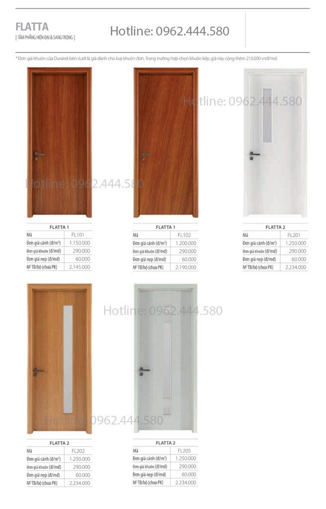 Bảng giá cửa gỗ công nghiệp mới nhất