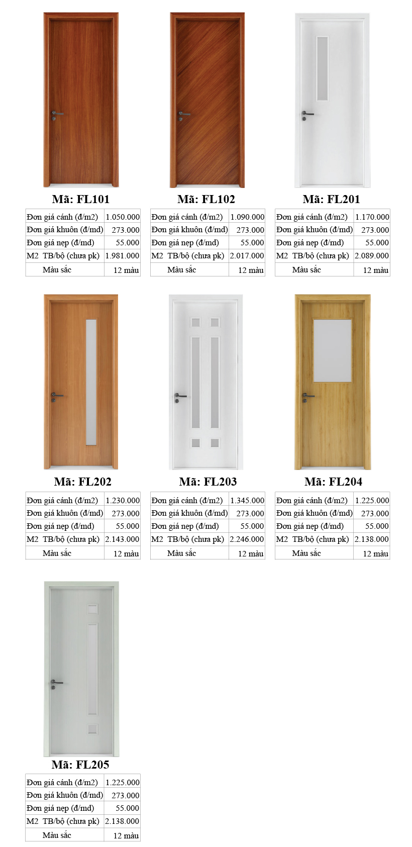 Báo giá cửa gỗ Flatta phẳng hiện đại