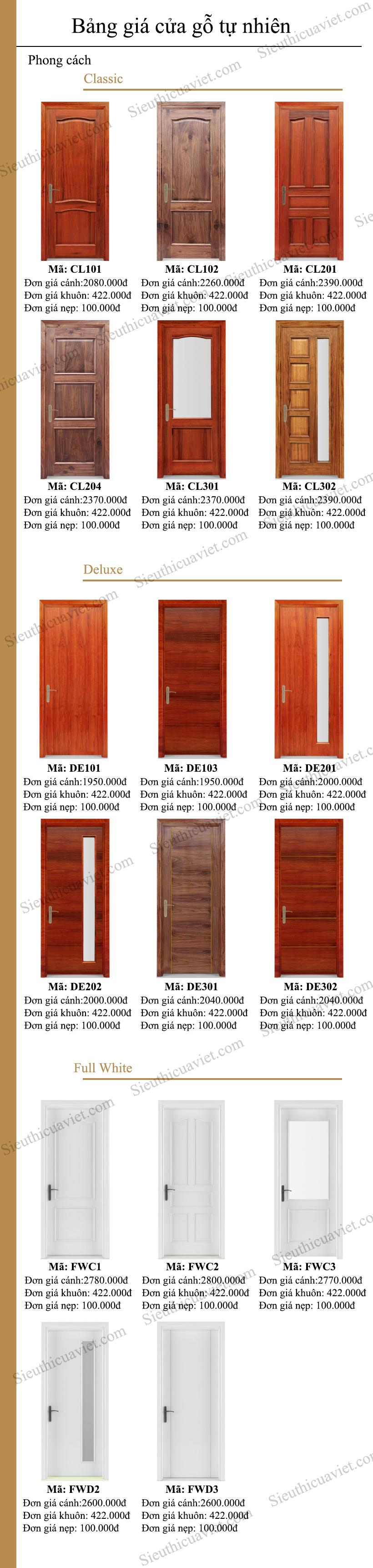 Bảng giá cửa gỗ tự nhiên uy tín