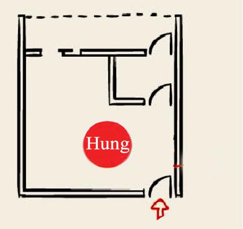 tránh đặt cửa phòng ngủ đối diện cửa chính