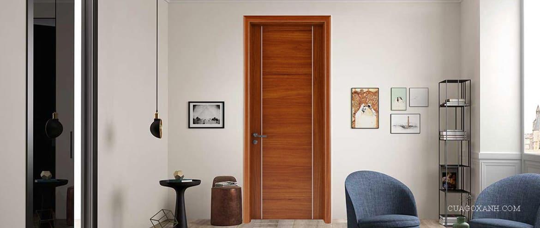 Mẫu cửa gỗ nhựa đẹp chỉ nhôm hiện đại