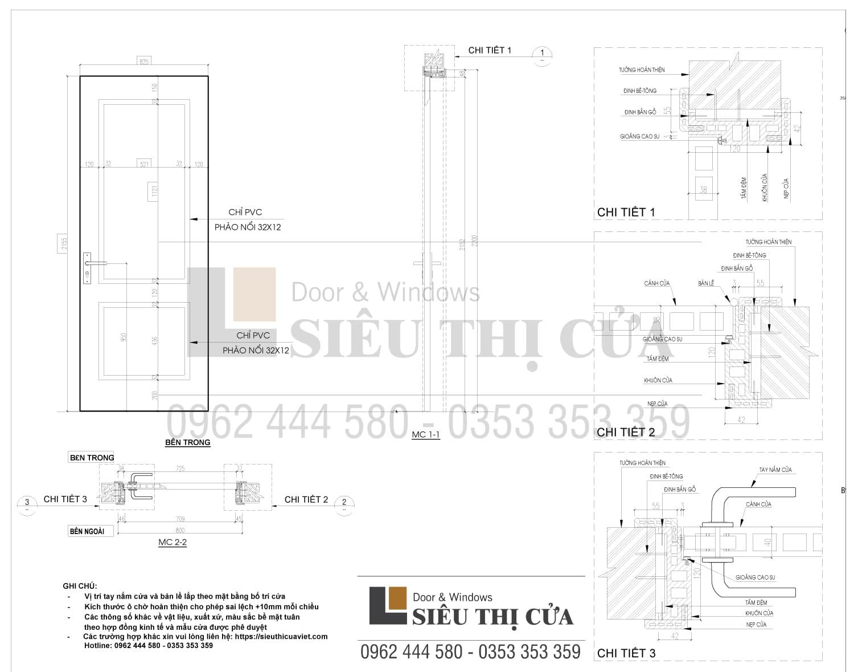 Bản vẽ kỹ thuật cửa gỗ công nghiệp GR402