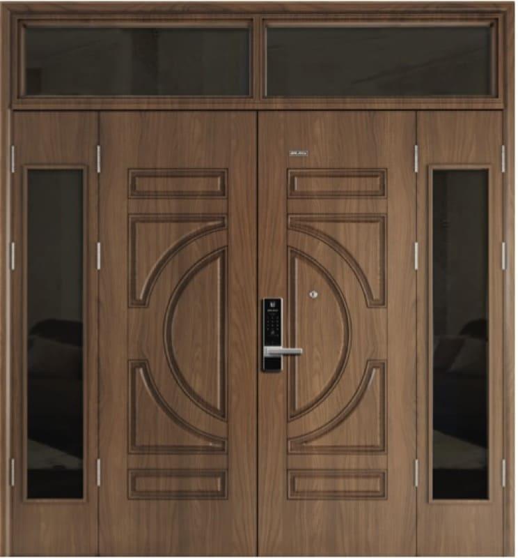 Cửa thép vân gỗ màu nâu óc chó mẫu cửa có ô kính